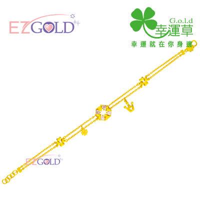 幸運草金飾-微加幸福-黃金手鍊