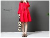 漂亮小媽咪 簡約風格洋裝 【D9218】 棉麻 文藝 純色 喇叭袖洋裝 七分袖 孕婦裝 孕婦洋裝