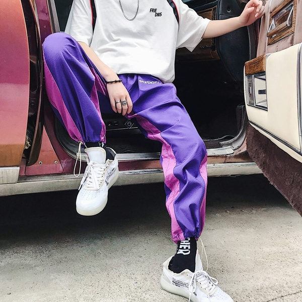 FINDSENSE H1 2018 夏季 新款 時尚撞色 抽繩 男女運動褲 情侶