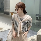 復古條紋短袖針織T恤女春裝2021新款薄款寬鬆外穿洋氣百搭上衣服 果果輕時尚