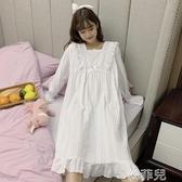 睡衣 很仙的白色睡裙女春秋新款公主風長袖睡衣秋冬長款連衣裙 韓菲兒