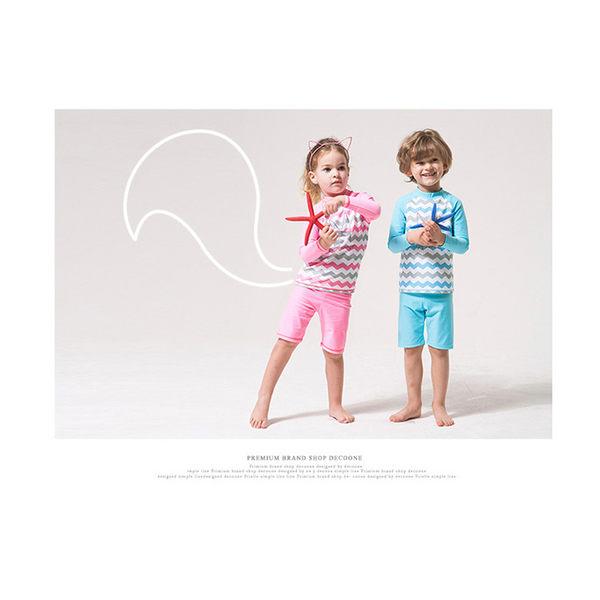 兒童泳衣 彩色 波浪紋 五分褲 兩件式 長袖 兒童泳裝【SFC7111】 icoca  07/06