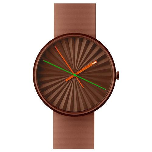 NAVA DESIGN Plicate watch 摺扇美學時尚腕錶-磚紅