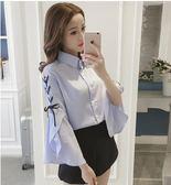 現貨 XXL 喇叭袖襯衫襯衣25326/新品韓版寬松喇叭袖白色襯衫露肩長袖上衣 依品國際
