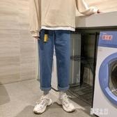直筒牛仔褲 2020新款春季男寬鬆韓版潮流百搭九分褲子 BT21547【彩虹之家】