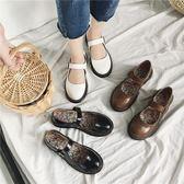 女鞋子圓頭厚底淺口單鞋軟妹森女學院風小皮鞋女夏學生
