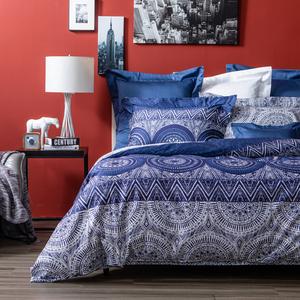 HOLA 藏藍純棉床包 雙人