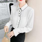 長袖襯衣 春款~白色刺繡簡約襯衫雪紡衫上衣長袖韓版女裝FNA027依佳衣