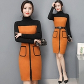 超殺29折 韓系時尚氣質假兩件毛呢氣質一步裙長袖洋裝