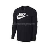 Nike 長袖T恤 NSW Icon Futura Tee 黑 白 男款 運動休閒 【ACS】 CI6292-010