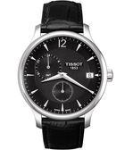TISSOT 天梭 Tradition GMT 二地時區經典手錶-黑 T0636391605700
