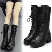 馬丁靴女2021秋季新款女靴厚底粗跟短靴舒適機車靴冬季保暖中筒靴 夏季新品