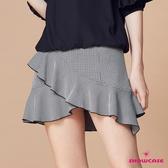 【SHOWCASE】俏麗細格紋交叉斜荷葉襬A字短裙