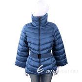 TRUSSARDI 絲光藍絎縫高領/連帽科技棉保暖外套(附腰帶/可拆式羊毛手套) 1810264-23