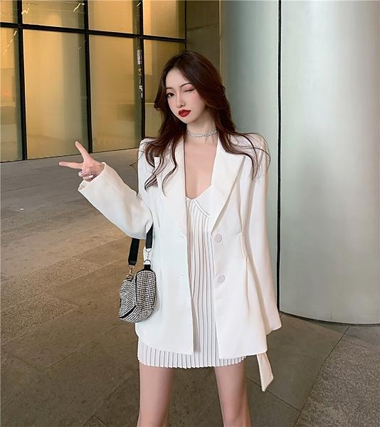 氣質御姐輕熟風西裝女秋季套裝洋氣休閒雪紡連身裙時尚網紅兩件套 韓國時尚週 免運