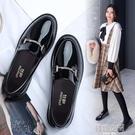 小皮鞋女2021新款春季春款英倫風學生粗跟中跟平底百搭淺口單鞋