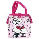 小禮堂 Hello Kitty 硬式支架尼龍保冷便當袋 保冷提袋 保溫袋 野餐袋 (粉 蛋糕) 4713218-20281