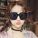 明星款太陽鏡女偏光新品韓國墨鏡方形大透明框反光太陽眼鏡