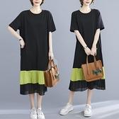 大碼胖mm夏裝2021新款中長款遮肚子顯瘦寬鬆棉拼雪紡洋氣連身裙女 中大尺碼短袖洋裝