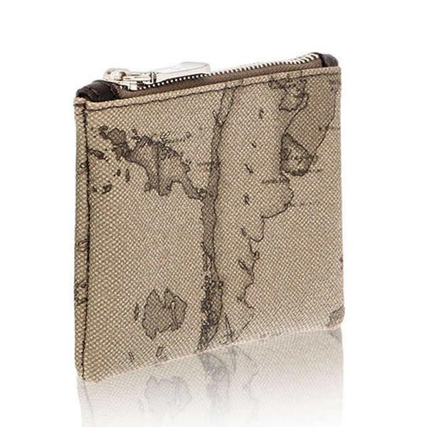 地圖包Alviero Martini-鑰匙環拉鍊小錢包-地圖灰