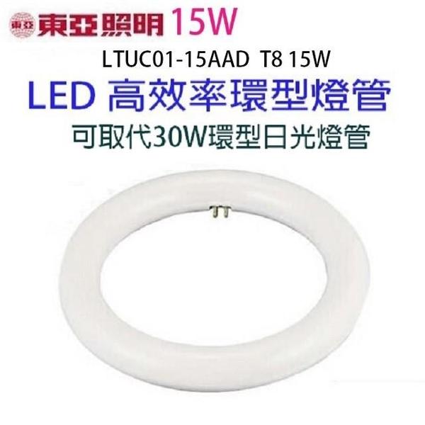 【南紡購物中心】【1入】東亞 15W  LED高效率環型燈管(畫光色-白光)
