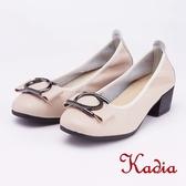 kadia.OL 造型圓釦粗跟高跟鞋(9009-30杏色)