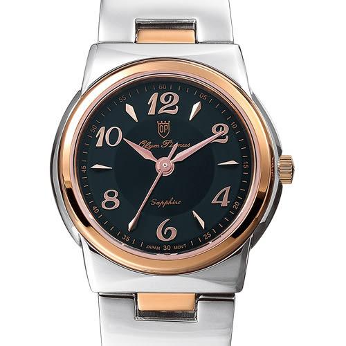 Olym Pianus 奧柏表 粉彩系列簡約腕錶-黑X玫瑰金/23mm