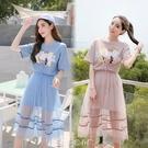 2019春夏新款韓版短袖t恤ins超火網紗中長款洋裝兩件套網紅套裝 多色小屋