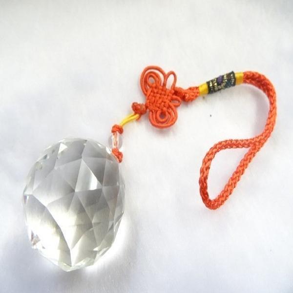 【Ruby工作坊】NO.3MA奧地利3.5CM切割面中白水晶球紅吊飾(加持祈福)