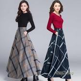 格子半身裙秋冬女2020新款冬天配毛衣裙子毛呢加厚半身裙顯瘦胯大「時尚彩虹屋」