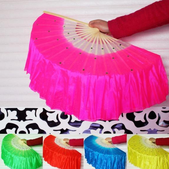 裙襬扇 真絲舞蹈扇 單層扇 長紗扇 18股 表演扇 跳舞扇 手工扇 雙面扇 舞導班【塔克】