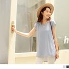 《AB15527-》純色長版圓領造型打褶短袖上衣 OB嚴選