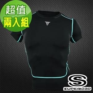 【SUPEROAD SPORTS】Full-Power 壓縮短袖緊身衣2入組-黑色XL號