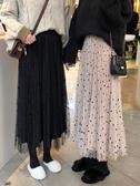 波點網紗半身裙秋冬季溫柔風長裙子百褶裙中長款仙女紗裙chic秋裝