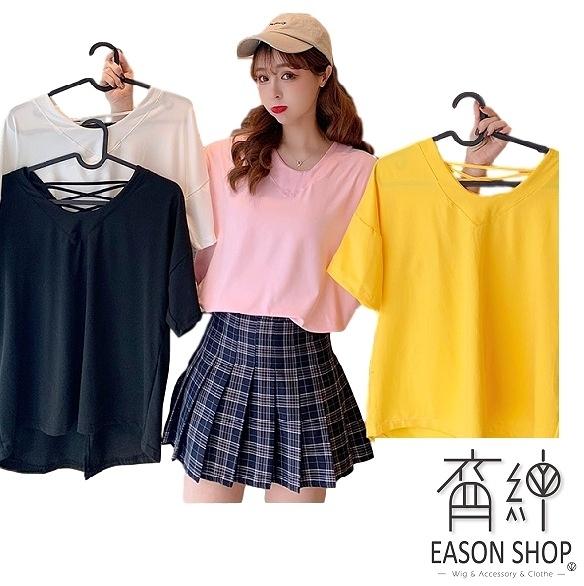 EASON SHOP(GW5100)實拍前短後長後背交叉露背短袖T恤女上衣服落肩內搭衫顯瘦閨蜜裝素色棉T百搭純色