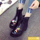 時尚中筒女士保暖加絨低幫雨鞋