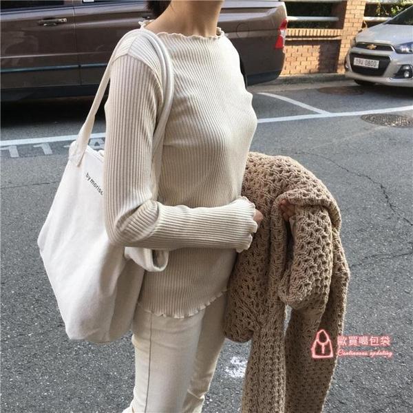 帆布手提包 2019新款韓版簡約百搭白色大容量帆布包女單肩休閒文藝手提袋學生 2色
