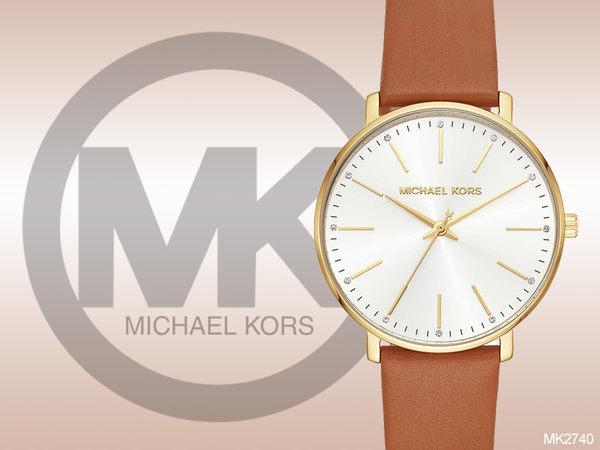【時間道】MICHAEL KORS 時尚簡約中性皮革腕錶 / 白面金殼咖皮 (MK2740)免運費