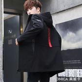 風衣 季外套男韓版潮流夾克男裝帥氣修身學生風衣中長款上   莫妮卡小屋