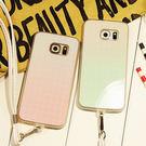 【紅荳屋】白漸變格紋三星note5手機殼掛繩note4套鏡面軟N5矽膠S6edge手機殼