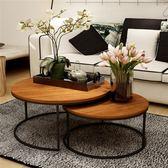 美式復古鐵藝實木茶幾桌幾何時尚創意大小戶型圓形茶幾茶桌 卡布奇諾