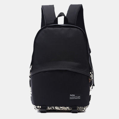 SINGLE單眼皮女孩 休閒流行素面拼接圖樣設計風前拉鍊大袋雙側邊袋內筆電夾層可放A4帆布後背包