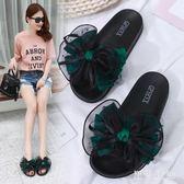 家居拖鞋女夏時尚外穿雷絲蝴蝶結平底防滑涼拖大碼41-43特大號女鞋 aj13562『黑色妹妹』