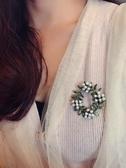 歐美日韓配飾 花環高端半孔天然淡水珍珠綠色復古別胸針女