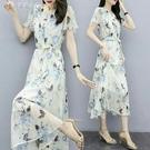 休閒洋裝流行黃色雪紡連身裙21新款夏仙女...