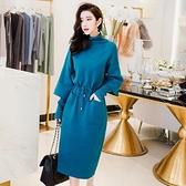 寶藍色假兩件針織洋裝冬裝女新款韓版高領收腰毛衣中長裙子 聖誕節全館免運