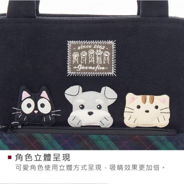 小黑貓與雪納瑞 拼布 格紋 手提/肩背/拼布包【810122】