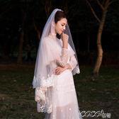 頭紗 新娘頭紗韓式蕾絲頭紗短款簡約唯美白色新款結婚婚紗超長頭紗 coco衣巷