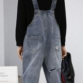 孕婦背帶褲春夏新款時尚牛仔吊帶褲寬鬆九分