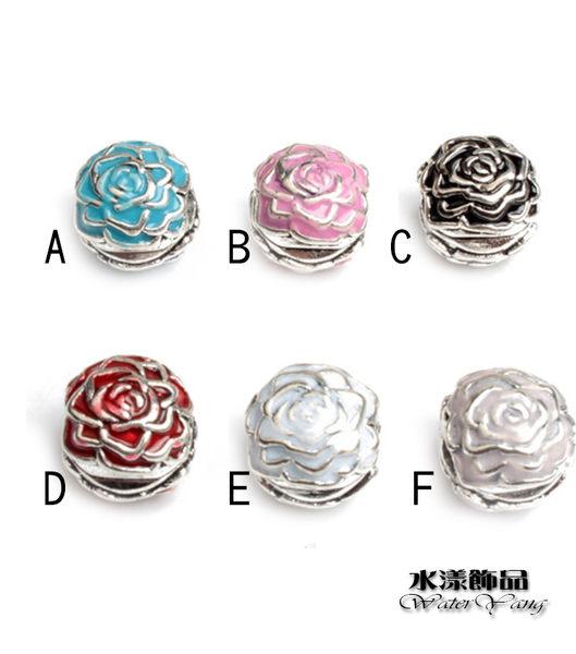 玫瑰花定位扣  潘朵拉風DIY串珠手鍊配件